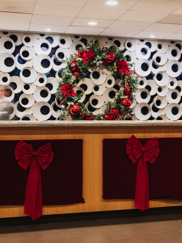 decorated wreath and red bows