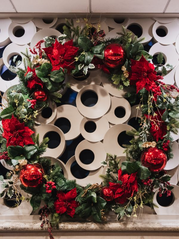 large wreath with custom red ornaments