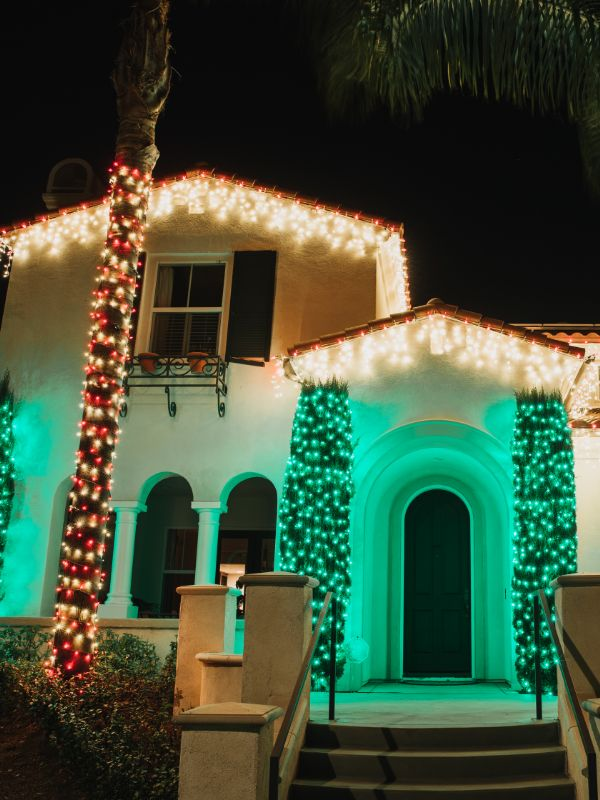 led icicle lights with green shrubs and candy cane palm tree holiday lights